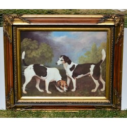 predané Starožitný veľký obraz Dáma s košíkmi kvetov 75,5 x 65 cm
