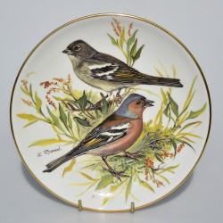 predane Porcelánový tanier Buchfink, 22 karát zlato, 19,5 cm + certifikát, originálne balenie