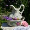 Veľká sada džbán a misa Kvety, džbán 31x22 cm  + uško