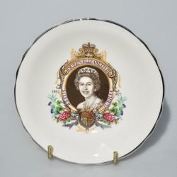 Zberateľský porcelánový tanierik Silver Jubilee of Queen Elizabeth II., 11,5 cm