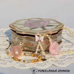 Porcelánová šperkovnička na zlatých nožičkách Dáma 8x6 cm