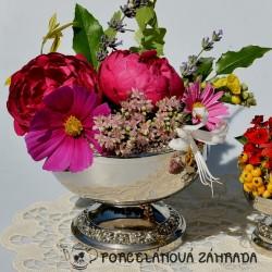 Veľká postriebrená váza na kvety, silverplated, Ianthé,  15 x 13 cm, bez kvetov