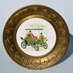 Starý kovový porcelánový tanier Veterán Lanchester 25 cm