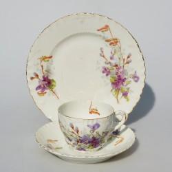 Viktoriansky raritný starožitný porcelánový trojset St.Louis, Asbury Longton 200 ml, vlásočnica a oťuk na dezert.tanieri