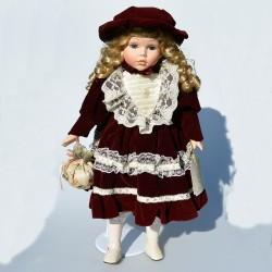 41 cm Porcelánová bábika s dáždnikom Beatrice The Leonardo Collection, orig.obal + stojan