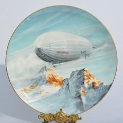 """Porcelánový tanier """" Flight over The Alps """""""