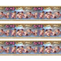 1:12 Bordúra na tapety do domčeka Modré flakóniky - 1 kus A4