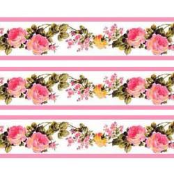 1:12 Bordúra na tapety do domčeka Ružovomodré kvety - 1 kus A4