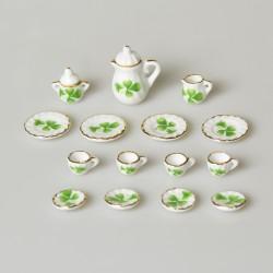 1:12 Miniatúrna porcelánová čajová sada Ruže do domčeka pre bábiky 15 ks
