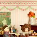 Tapety, bordúry a podlaha do domčeka